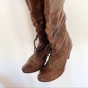 Brown leather marble style lace up heel boots